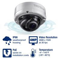 CAMARA TRENDNET TV-IP345PI INDOOR / OUTDOOR 4 MP VARIFOCAL POE IR DOME